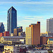 Jacksonville Skyline Morning Day Color Panorama Florida Art Print