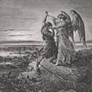 Jacob Wrestling With The Angel Print by Gustave Dore