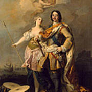 Peter I With Minerva With The Allegorical Figure Of Glory Art Print