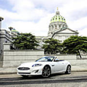 Jaguar Xk And The Capitol Building Art Print