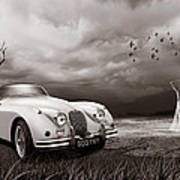 Jaguar Xk150 - Admiring The View Art Print