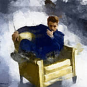 James Dean In Yellow Leather Chair Art Print