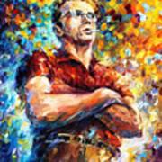 James Dean - Palette Knife Oil Painting On Canvas By Leonid Afremov Art Print