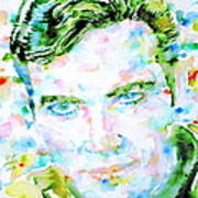 James T. Kirk - Watercolor Portrait Art Print by Fabrizio Cassetta