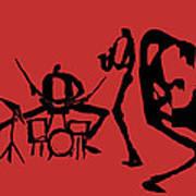 Jammin Jazz On Red Art Print