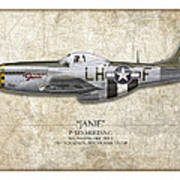 Janie P-51d Mustang - Map Background Art Print