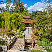 Japan In Pasadena - Beautiful View Of The Newly Renovated Japanese Garden In The Huntington Library. Art Print