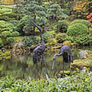 Japanese Bronze Cranes Sculpture By Pond Art Print