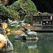 Japanese Garden At Sundown Art Print