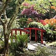 Japanese Garden Bridge With Rhododendrons Art Print