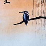 Japanese Kawasemi Kingfisher Feng Shui Earth Art Print