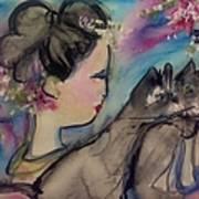 Japanese Lady And Felines Art Print