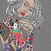 Japanese Tat Girl Grey  Art Print