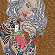 Japanese Tat Girl Leopard Art Print