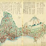 Japanese Wood Block Map Showing Mt Fuji 1830s Art Print