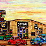 Java U Cafe Jean Talon Car Wash Coffee Shop Depanneur Montreal Art Sale Cspandau                     Art Print