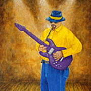 Jazz Guitar Man Art Print