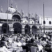 Jazz In Piazza San Marco Black And White  Art Print