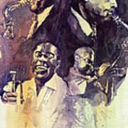 Jazz Legends Parker Gillespie Armstrong  Art Print