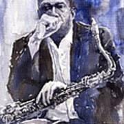 Jazz Saxophonist John Coltrane Blue Art Print