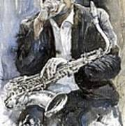 Jazz Saxophonist John Coltrane Yellow Art Print by Yuriy  Shevchuk