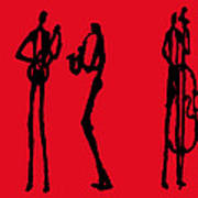 Jazz Trio In Red 2 Art Print