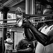 Jazzy Trombone Music-bw Art Print