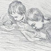 Jean Pierre Hoschede And Michel Monet Art Print by Claude Monet