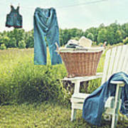 Jeans Hanging On Clothesline On A Summer Afternoon Art Print