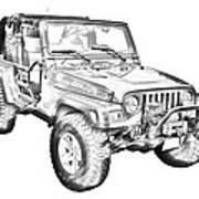 Jeep Wrangler Rubicon Illustration Art Print