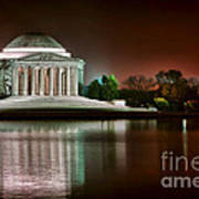 Jefferson Memorial At Night Art Print by Olivier Le Queinec