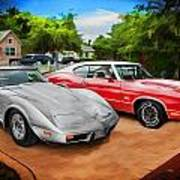Jeffs Cars Corvette And 442 Olds Art Print