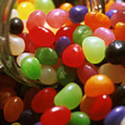 Jelly Beans Spilling Out Of Glass Jar Art Print