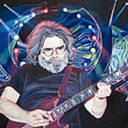 Jerry Garcia And Lights Art Print