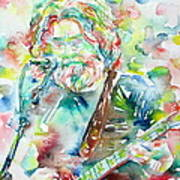 Jerry Garcia Playing The Guitar Watercolor Portrait.2 Art Print