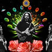 Jerry Spacepods Triple Jerry Ufo Roses Under Cosmic Sun Art Print