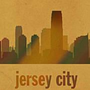 Jersey City New Jersey City Skyline Watercolor On Parchment Art Print