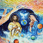 Jesus And Mary Cloud Colored Christ Come Art Print