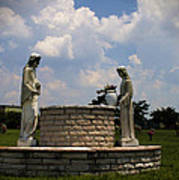 Jesus And The Woman At The Well Cemetery Statues Art Print