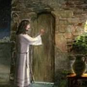 Jesus Knocking On The Door Art Print by Cecilia Brendel