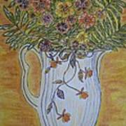 Jewel Tea Pitcher With Marigolds Art Print