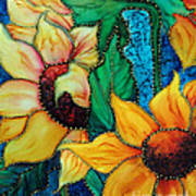 Jeweled Sassy Sunflowers Art Print