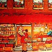 Jewish Culture In Montreal Paintings Of Warshaw's Fruit Store On St.lawrence Street Scene Art  Art Print