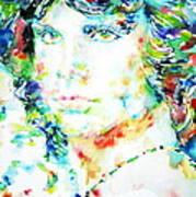 Jim Morrison Watercolor Portrait.5 Art Print