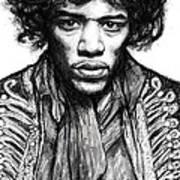 Jimi Hendrix Art Drawing Sketch Portrait Art Print