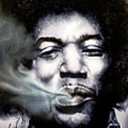 Jimi Hendrix-burning Lights-2 Art Print by Reggie Duffie