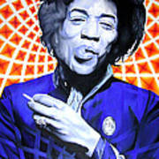 Jimi Hendrix Orange And Blue Art Print