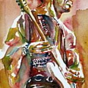 Jimi Hendrix Playing The Guitar Portrait.3 Art Print