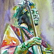 Jimi Hendrix Playing The Guitar.5 -watercolor Portrait Art Print
