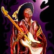 Jimi Hendrix Variations In Purple And Black Art Print